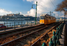 Budapest Cityview. Budapest Citiscape, tram passing, buda castle on castle hill in the background Stock Photo
