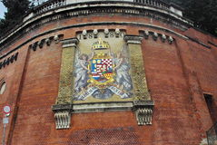 Budapest. Coat of arms on an ancient wall in Budapest royalty free stock photos