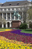 Budapest, colorful flowerbed and equestrian statue Stock Photography