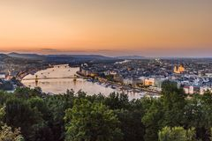 Budapest and Danube at night. Romantic skyline of Budapest, Hungary in sunset Royalty Free Stock Photo