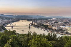 Budapest and Danube at night. View to budapest, Hungary in sunset Royalty Free Stock Photo