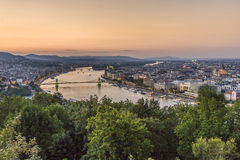 Budapest and Danube at night. View to budapest, Hungary in sunset Royalty Free Stock Photos