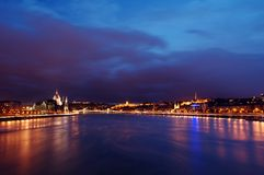 Budapest Danube sunset. Panoramic view over danube duna river of budapest  on both sides at dusk Royalty Free Stock Images