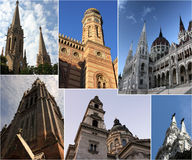 Budapest by day - collage. Collage with symbolic buildings from Budapest. Can be used at postcards, calendars, posters, travel agency's ad Royalty Free Stock Photos