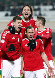 Hungria contra o jogo de futebol de Romania Fotos de Stock Royalty Free