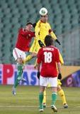 Hungría contra el partido de fútbol de Rumania Foto de archivo