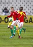 Hungría contra el partido de fútbol de Rumania Fotografía de archivo