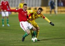 Hungría contra el partido de fútbol de Rumania Imágenes de archivo libres de regalías
