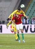 Hungría contra el partido de fútbol de Rumania Foto de archivo libre de regalías