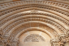Budapest - Detail of from west portal on gothic Church of Jak near Vajdahunyad castle. Stock Photos
