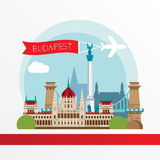 Budapest detailed silhouette. Trendy stylish colorful landmarks. Royalty Free Stock Photography