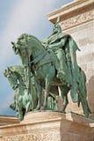 Budapest - detaljen av prinsen Arpad på milleniummonumentet Royaltyfria Foton
