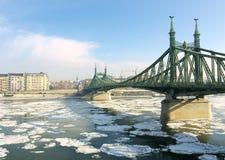 Budapest, direzione del ghiaccio sul Danubio Fotografia Stock Libera da Diritti