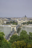 Budapest Downtown. A view across the main bridge and some of the important buildings from Budapest, Hungary Stock Photo
