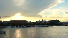 Budapest Dunabe panoramatic stock footage