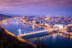 Budapest at dusk taken from Gellert Hill, Hungary Stock Photography