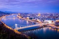 Budapest at dusk taken from Gellert Hill, Hungary Stock Images