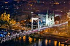 Budapest Elizabeth Bridge at night Stock Image