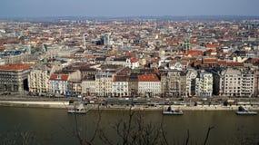 Budapest Embankment. Danube embankment Pesti Álso rkp. with historic buildings in Budapest Royalty Free Stock Image