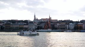 Budapest embankment. View of Matthias church and Fisheman`s bastion from Danube bank in Budapest, Hungary Royalty Free Stock Photography