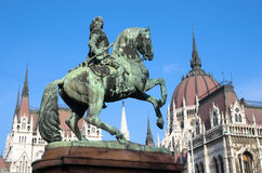 Budapest, Equestrian Statue And Hungarian Parliament. Composition !!!!!!!!!! Budapest, Kossuth square: the equestrian statue of the national hero Francis II Royalty Free Stock Photography