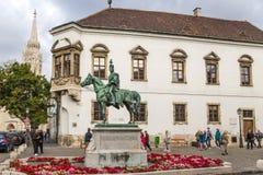 Budapest. A estátua do general András Hadik 4 do hussardo Foto de Stock Royalty Free