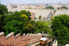 Budapest et le funiculaire Photographie stock