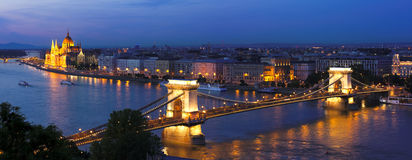 Budapest evening. Budapest chain bridge with parliament in the background high resolution Royalty Free Stock Image