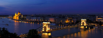 Budapest evening. Budapest chain bridge with parliament in the background high resolution Stock Photo