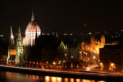Budapest in the evening. Decorative lighting and bridges Royalty Free Stock Photos