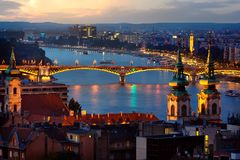 Budapest in evening illumination. Panoramic view of Budapest in evening illumination, Hungary royalty free stock photography