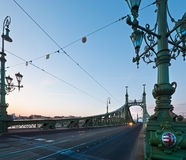 Budapest evening view. Budapest Liberty Bridge across the Danube river . Evening cityscape royalty free stock photography