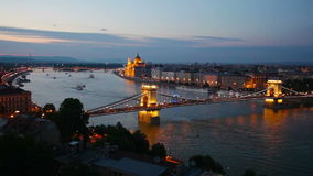 Budapest evening view from the hills of Buda stock video