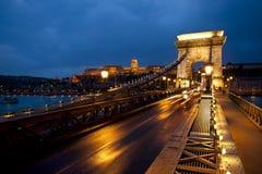 Budapest för Chain bro Ungern Royaltyfria Bilder