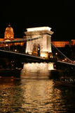 Budapest famous suspension bridge at night Royalty Free Stock Photography