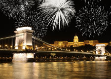 Budapest fireworks Royalty Free Stock Photos