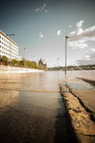 Budapest floods. City of Budapest threatened by the record breaking swollen Danube Stock Photo