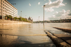 Budapest floods. City of Budapest threatened by the record breaking swollen Danube Royalty Free Stock Photo