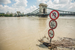Budapest floods. City of Budapest threatened by the record breaking swollen Danube Royalty Free Stock Images