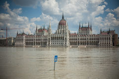 Budapest floods. City of Budapest threatened by the record breaking swollen Danube Royalty Free Stock Image