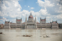 Budapest floods. City of Budapest threatened by the record breaking swollen Danube Stock Image