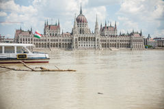 Budapest floods. City of Budapest threatened by the record breaking swollen Danube Royalty Free Stock Photography