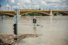 Budapest floods. City of Budapest threatened by the record breaking swollen Danube Stock Photography