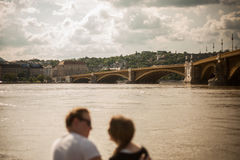 Budapest floods. People watching the show of the swollen Danube on its banks in Budapest Royalty Free Stock Image