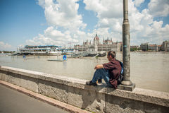 Budapest floods. People watching the show of the swollen Danube on its banks in Budapest Royalty Free Stock Photography