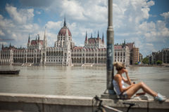 Budapest floods. People watching the show of the swollen Danube on its banks in Budapest Stock Photos