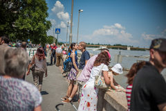 Budapest floods. People watching the show of the swollen Danube on its banks in Budapest Stock Photography