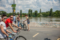 Budapest floods. People watching the show of the swollen Danube on its banks in Budapest Royalty Free Stock Images