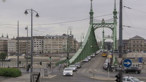 Budapest Freedom Bridge. BUDAPEST, HUNGARY, JUN 24, 2011: Time lapse of traffic on crossing at Freedom Bridge over Danube River in Budapest, Hungary stock footage