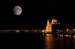 Budapest full moon Stock Images
